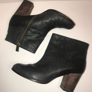 Cole Haan Nike Air Black Leather Ankle Booties